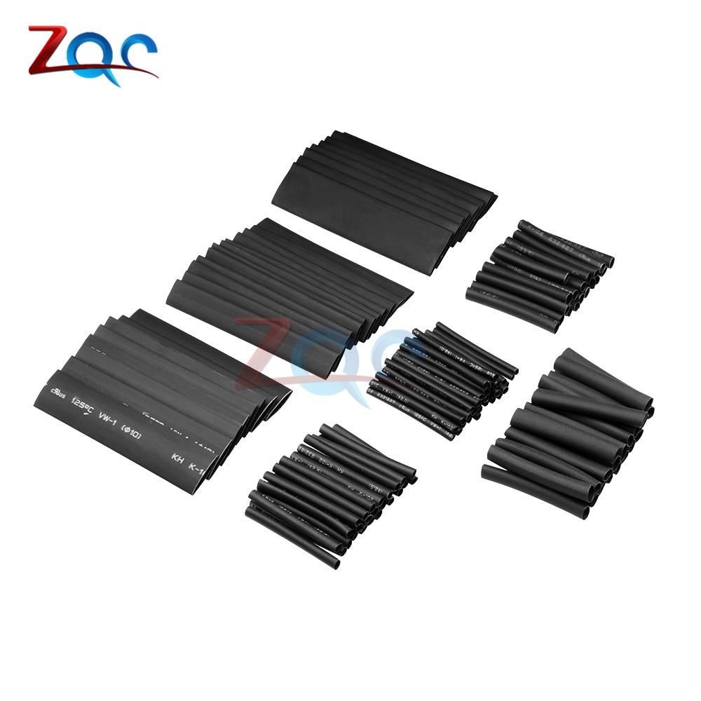 Car Electrical Cable Heat Shrink Tube Tubing Wrap Sleeve Assort Black 127Pcs