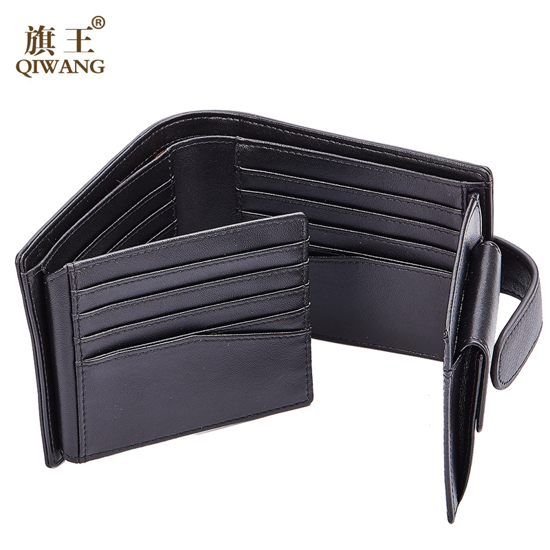 Qi Wang Credit Card holder Men Wallet Coin Carbon Wallet Genuine Cow Leather Male wallet Purse Card purse Multiple card slots 2017 new wallet men purse fashion leather 6 card holder sim card holder brand wallet men split cow leather purse small purses