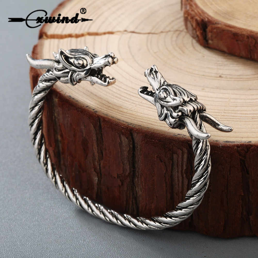 Cxwind Viking Retro Wire Bangle Jewelry Men Double Dragon Heads Cuff Twist Bracelet Bangle Adjustable for Men Women Punk Gift