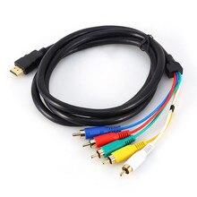Cable adaptador HDMI a 5RCA macho a macho AV Cable adaptador de alta calidad HDMI RCA Cable de audio y video para TV decodificador HDTV DVD