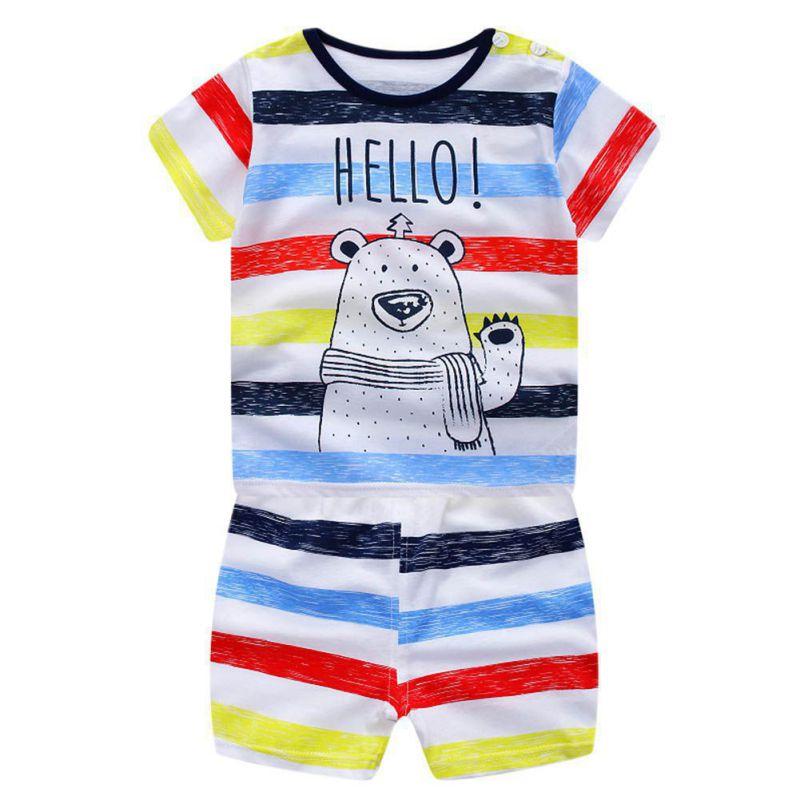 2 шт. Одежда для маленьких мальчиков комплект Лето 2017 Симпатичные новорожденных комплекты для малышей Одежда для новорожденных девочек кос...