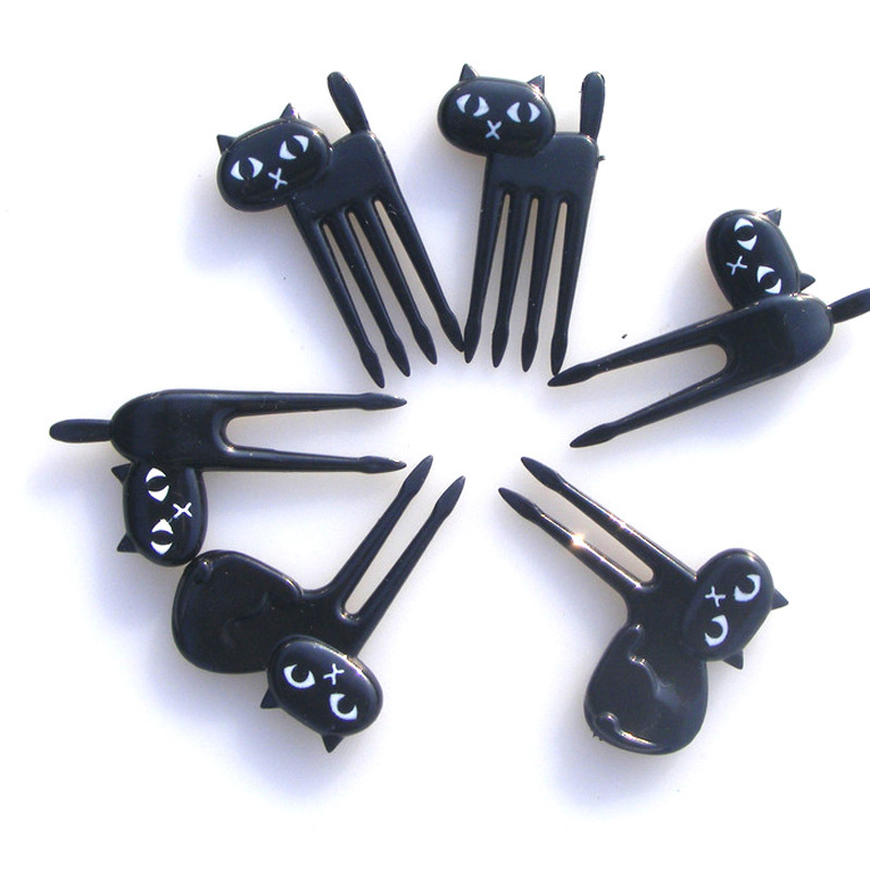 FHEAL New 6Pcs Mini Animal Fork Fruit Picks Cute Cartoon Black Cat Children Fork Toothpick Bento Lunch Box Decor Accessories  (2)