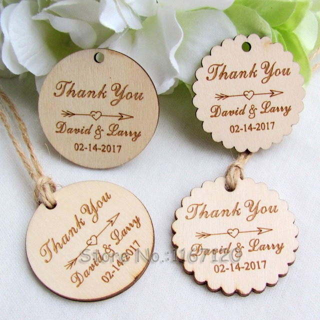 200pcs personalized engraved thank you wedding tags round circle wooden hang tags rustic wedding