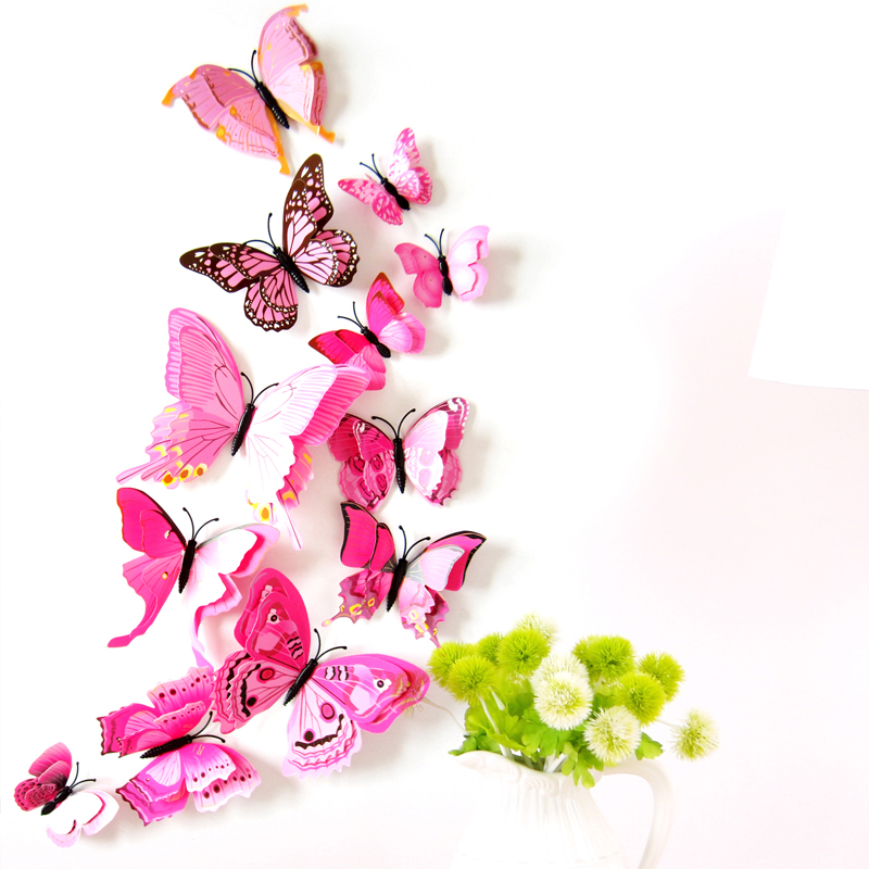 12pcs 3d Colorful Butterfly Wall Sticker for Home Decorations Removable Wall Decals for Kids Rooms ,Living Room,party,bedroom A