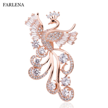 FARLENA Jewelry Silver Plated Phoenix Brooch Inlay with Micro Zircon Fashion CZ Crystal Brooches for Women Wedding