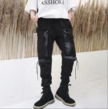 personality fashion mens pants Multi-pocket harem pant men feet trousers Fringed zipper strap hombre cargo pantalon homme black