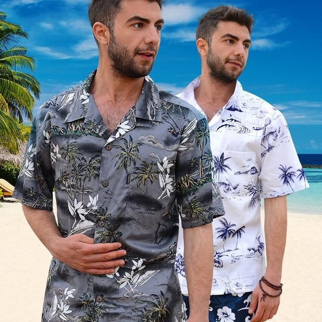 e4bc6bfa9db 2018 Summer Cotton Hawaii Holiday Beach Shirt Men Casual Short Sleeve  Printed Shirt Single Breasted Plus Size Loose Tops D078