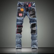 Горячая распродажа рваные джинсы мужчины 2016 летний стиль эластичные джинсы бренда уменьшают подходящий мешковатые джинсы высокое качество джинсовые общие мужские брюки