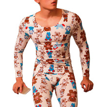 Thermal underwear for men invisible calzoncillos hombre print men long