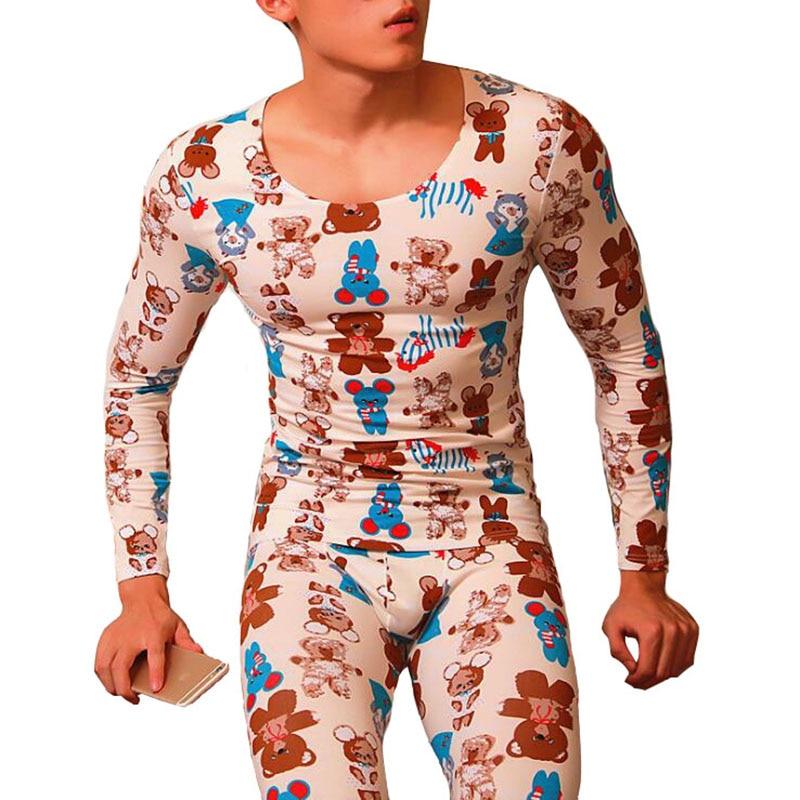 Thermal Underwear For Men Invisible Set Calzoncillos Hombre Compression Underwear Men Print Long Johns Men Leggings Underpants