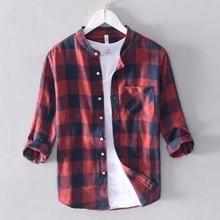 Summer Fashion Men Shirts Three Quarter Length Sleeve Linen Cotton Tee Stand Collar Youth Plaid T-shirts Hombre
