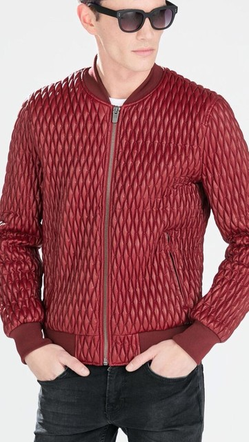 Mens Genuine ZA 2015 spring new Red checkered Low collar Quilted ... : quilted jacket for mens - Adamdwight.com