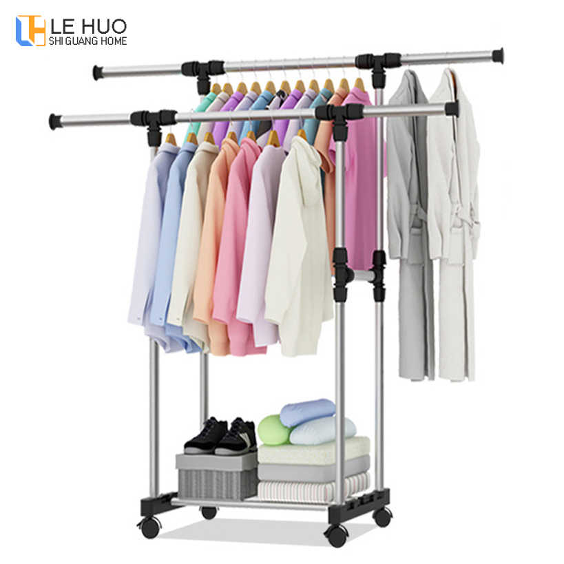 Stainless steel Telescopic drying racks balcony double pole floor drying home living room bedroom hangers Coat rack Clothes rod