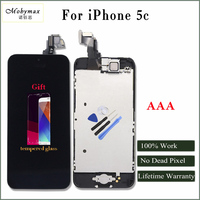 Moybmax AAA Factory Tested LCD Display For Iphone 5c Touch Screen Digitizer Full Assembly Home Button