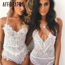Affogatoo Backless white bodycon sexy bodysuit women Transparent black lace bodysuit Casual summer jumpsuit romper female 2018