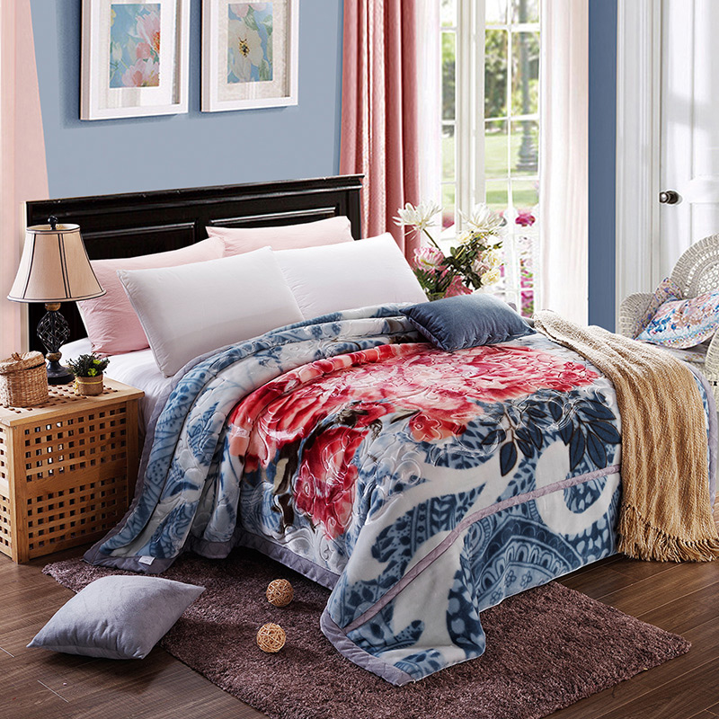 Arnigu chinese style print thick Blankets Queen size thicken Raschel embossing blanket warm soft Bedsheet winter bed/sofa Throws