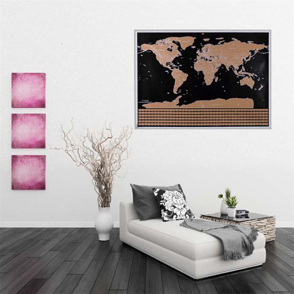 Unique Classic Travel World Map Wall Sticker Scratch Off Word With Flags US States For Office Home Study Durable Home Decor in Wall Stickers from Home Garden
