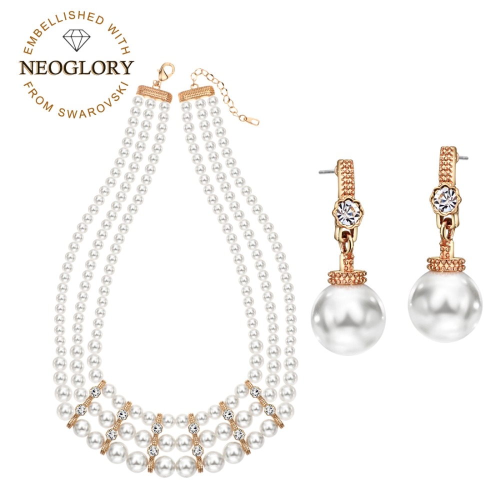 Neoglory Earrings Jewelry-Set Necklace Rhinestone Pearl Rose-Gold-Color White Luxuriant-Style