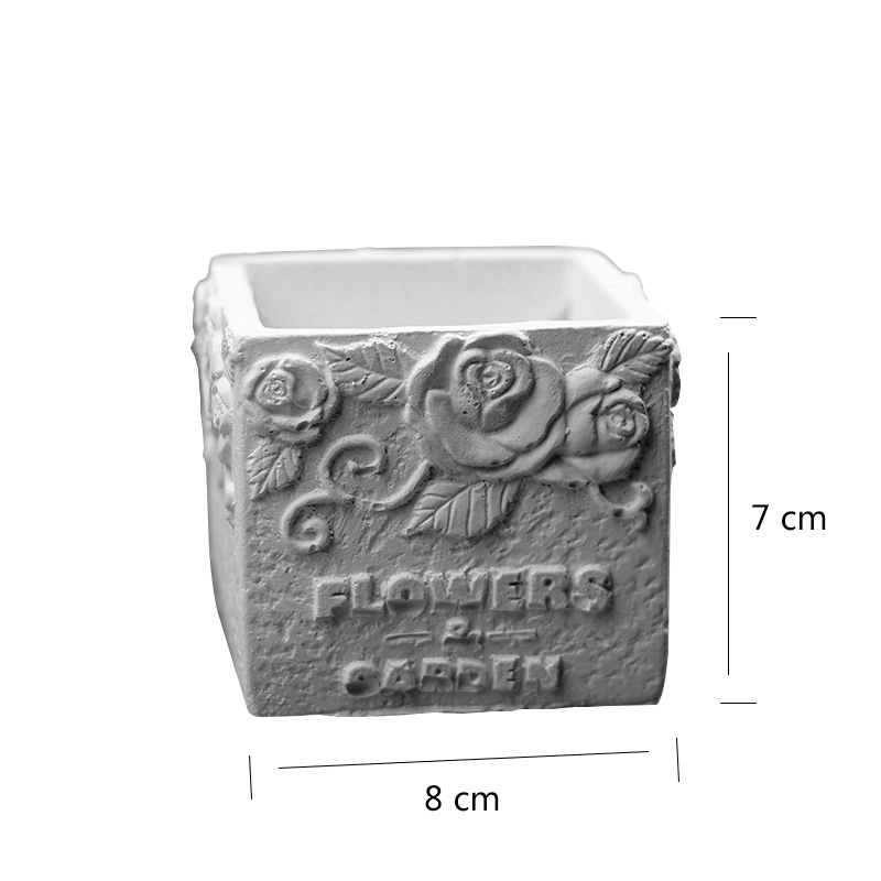 Nicole Silicone Cement Mold For Flowerpot Square With Flower Pattern Handmade Concrete Mould