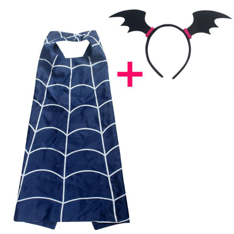 3PCS Vampirina Cosplay Kids Cartoon Cloak Cape and Mask Headband The Vamp Bat Woman Girl Cosplay Costumes Props Accessories