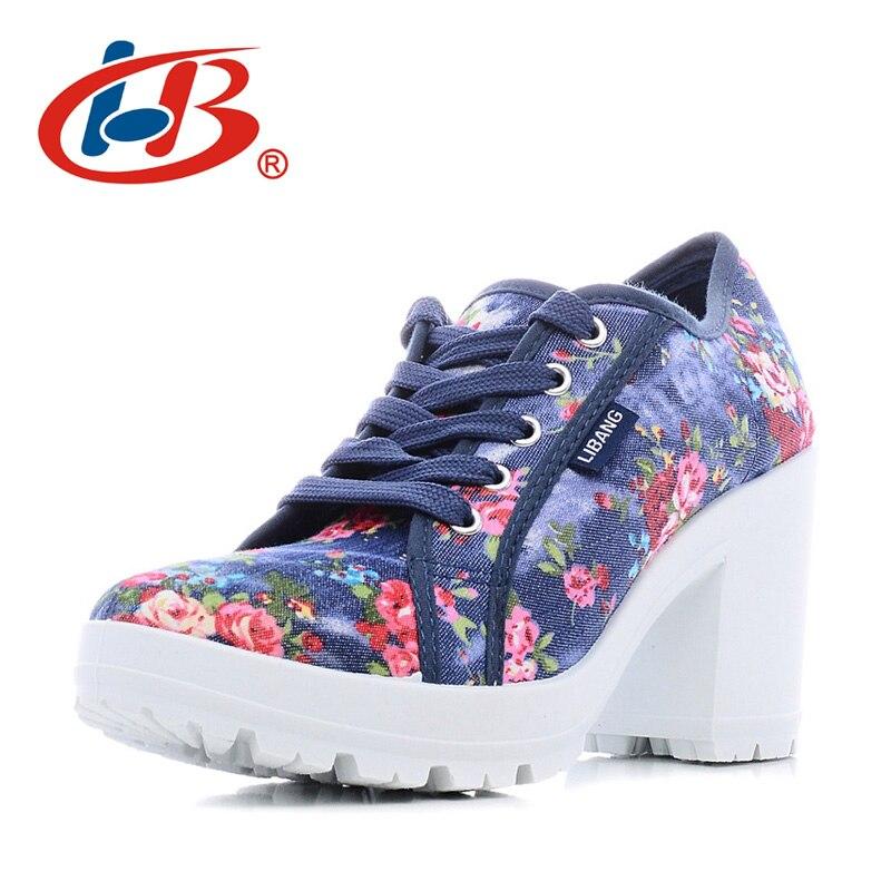 LIBANG удобные Женская обувь на платформе Цветочные женщина обувь на высоком каблуке 2018 г. парусиновая обувь толстый каблук Wedg женская обувь к...