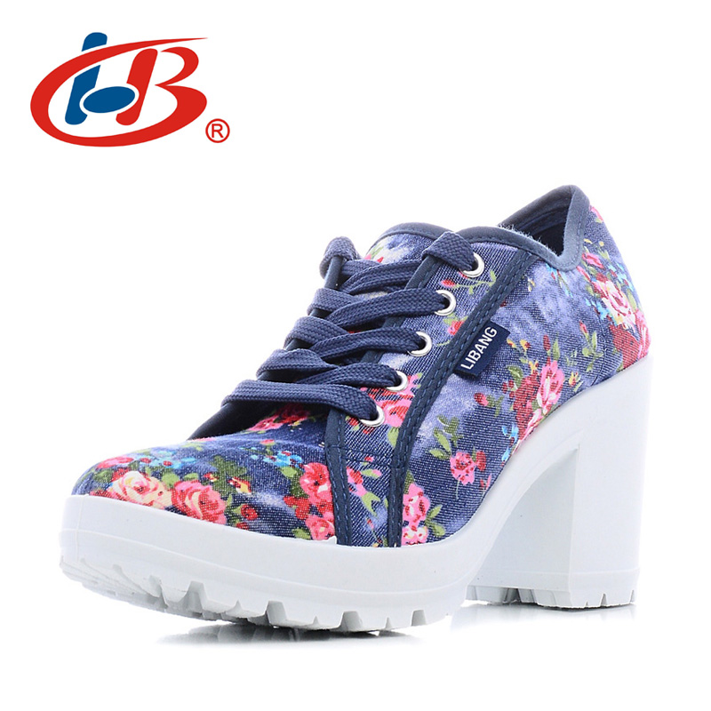 LIBANG Comfortable Platform Shoes Women Floral Woman High Heels Shoes 2017 High Canvas Shoes Thick Heels