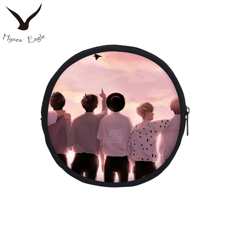 Hynes Eagle Cute BTS Cartoon Printing Coin Purses Round Canvas Wallet For Women Portable Coin Bags BTS SUGA JIMIN V RAP MONSTER 5 pcs lot cartoon anime wallet wholesale nintendo game pocket monster charizard pikachu wallet poke wallet pokemon go billetera