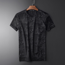 Minglu Summer Camouflage Mens Short Sleeve T shirt Hight Quality  Round Collar Slim Casual Mens Simple T shirts Plus Size 3XL
