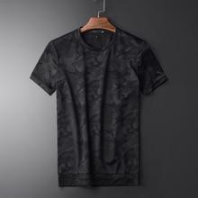 Minglu été Camouflage hommes à manches courtes T shirt de haute qualité col rond Slim décontracté hommes simples T shirts grande taille 3XL
