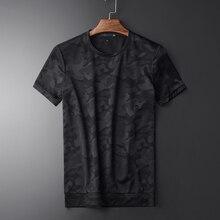 Minglu verão camuflagem masculina manga curta camiseta de alta qualidade gola redonda magro casual simples camisetas masculinas plus size 3xl
