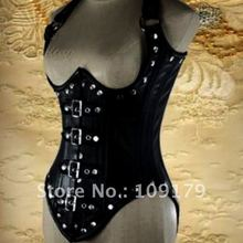 Annzley корсет! Роскошный черный кожаный ремень Korsett подлинный корсет под грудь из воловьей кожи с поясом