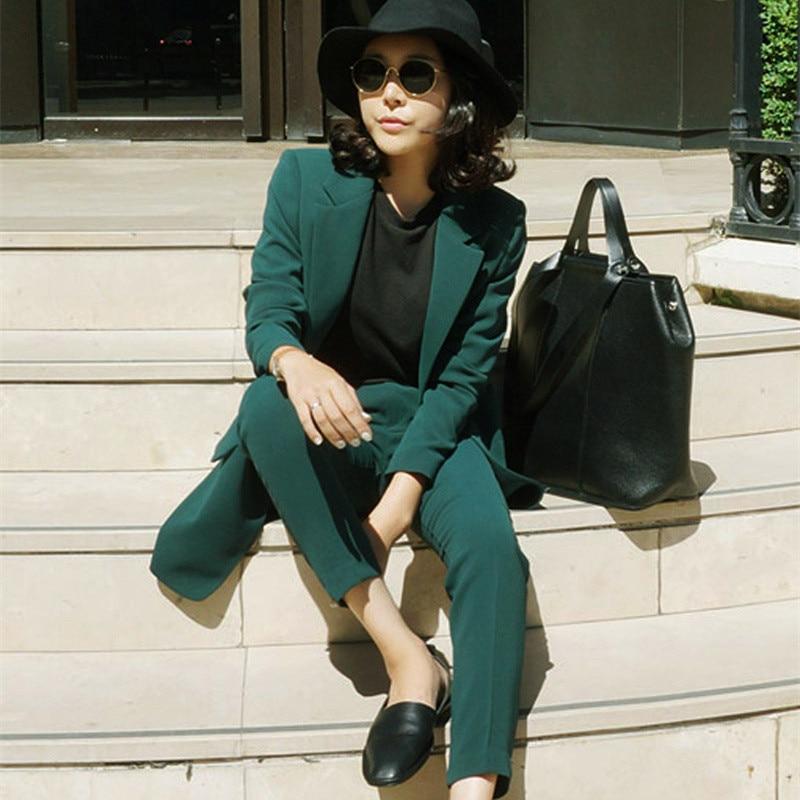 LUOSHA 2018 Women s Office Ladies Green Blazer Pants Suit Women Two Piece Set Single Breasted