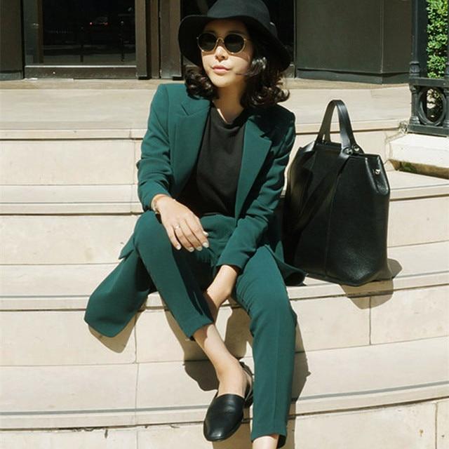 Us35 Damen Frauen Grün 99 Luosha 2018 BlazerHosen 30Off Stück Einreiher Set Büro In luosha Jacke Anzug Zwei hrQCdts