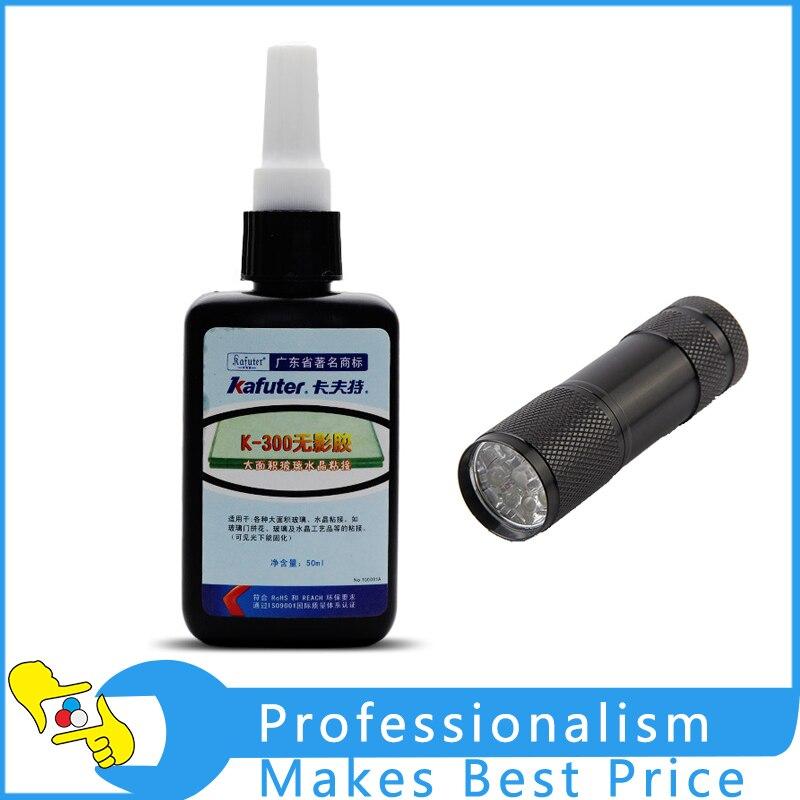 50ml Kafuter UV Glue Transparent Crystal and Glass Bonding Dedicated Repair Adhesive K-300 with UV Flashlight Ultraviolet Light