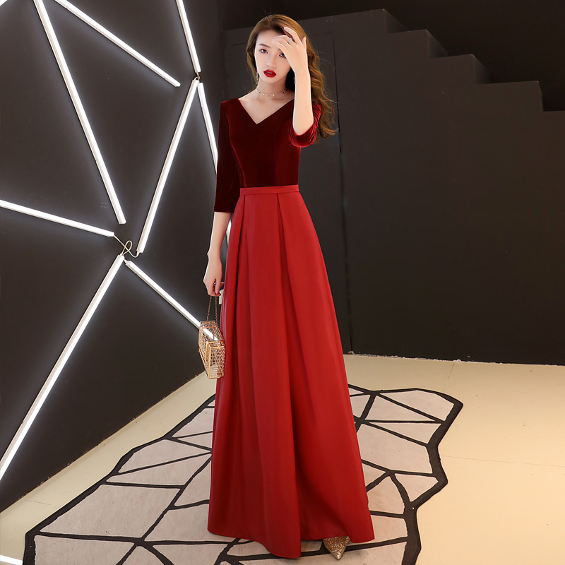 Новое бархатное платье длиной до пола элегантное женское однотонное платье-Ципао вечернее платье Qipao сексуальное платье с v-образным вырезо...