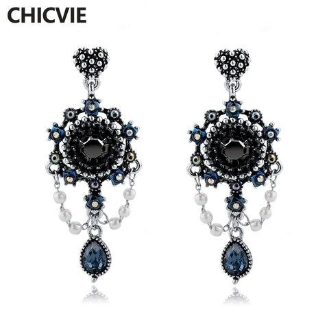 Chicvie этнические Винтажные висячие серьги для женщин синие