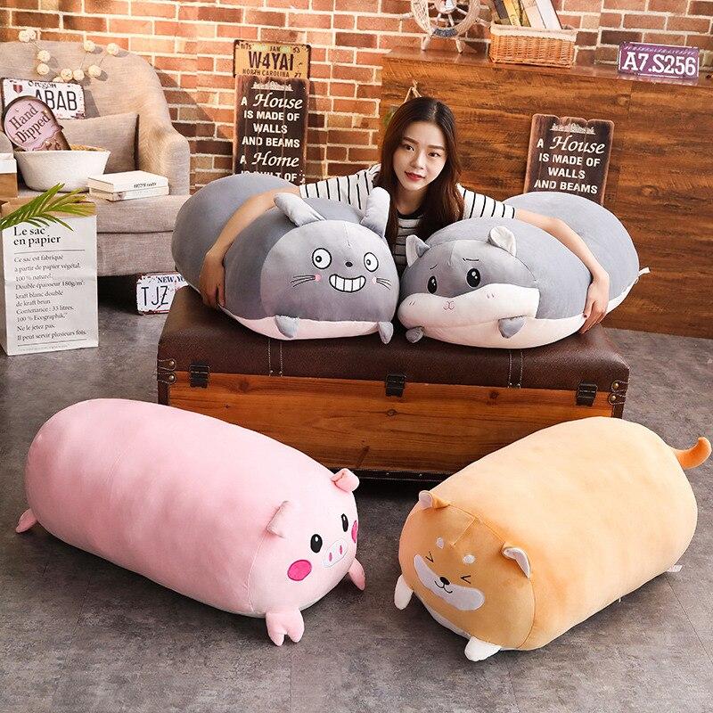 60/90 cm historieta Animal suave almohada cojín gordo lindo perro gato Totoro pingüino Rana cerdo peluche niños encantadores regalo Birthyday