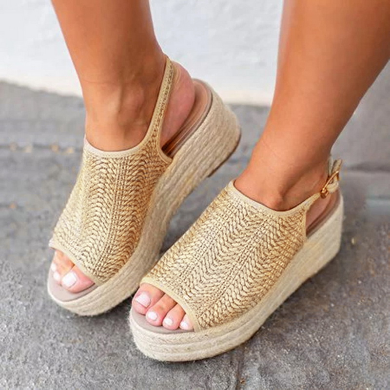 HEFLASHOR Summer Women Hemp Sandals Fashion Female Beach Shoes Heels Shoes Comfortable Platform Shoes zapatos de mujer(China)
