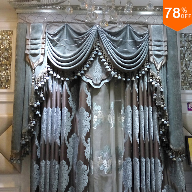 Ultimate Luxury Velvet curtains Silver grey blue Classic designer's living rooms bedroom Curtain Dormitory Dinning Room Curtain