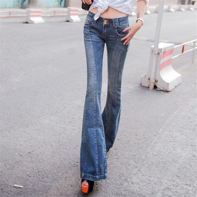 Denim Flare Pants Women Thin Summer Spliced Skinny Trousers Fashion Cotton Thin Women'S Jeans Spring Autumn Casual Pants Ma162
