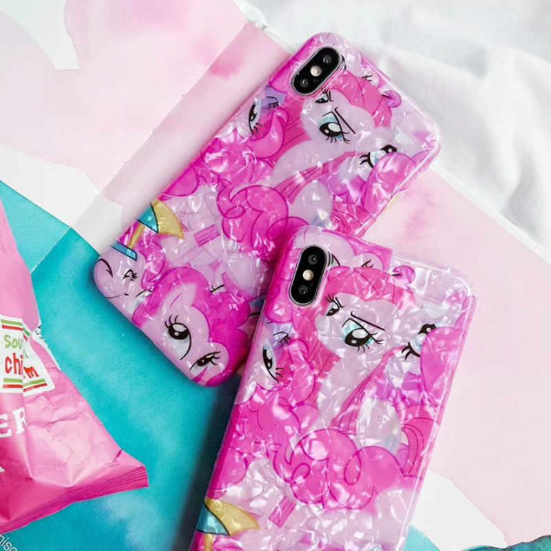 Роскошный блеск мечта ракушка Единорог чехол для телефона для iPhone 7 8 Plus XR XS Max 6 6 S Plus прекрасный подарок для силиконовый чехол черный