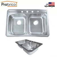 Probrico Brushed Stainless Steel Double Bowl Topmount Kitchen Sink 33 1 4 X22 1 4 X8