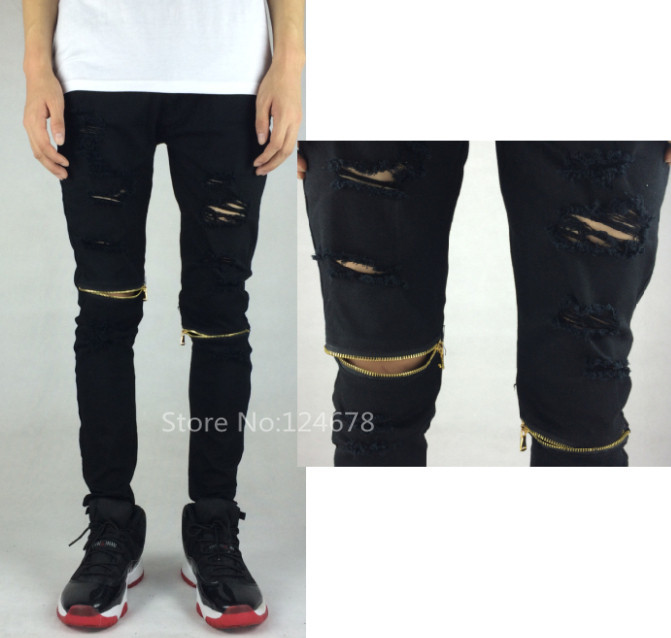 cool skinny white black ripped jeans for men zipper ...