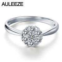 AULEEZE Snowflake Halo Heart Prong 0.25cttw Natural Diamond Real 18K White Gold Engagement Rings For Women Wedding Jewelry