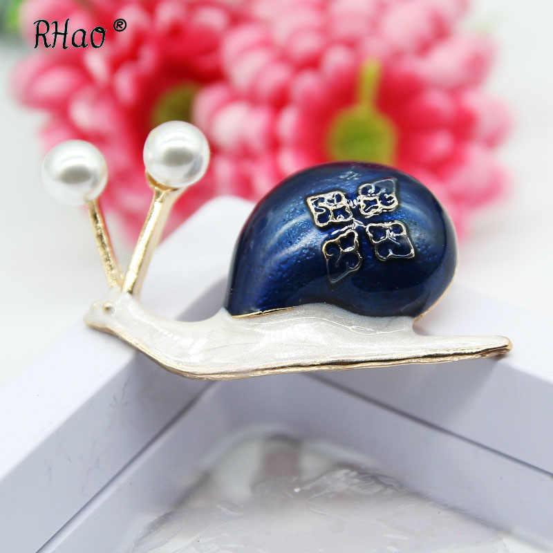 Siput RHao Merah Biru Enamel Bros 2 warna memilih Hewan Bros Korsase Wanita pria Aksesoris pakaian Dekoratif pin jilbab