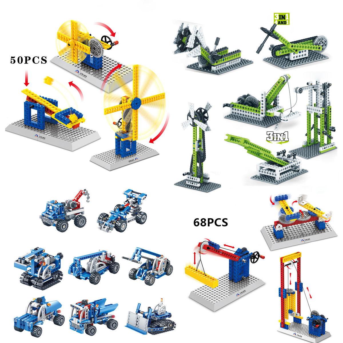 Creator Technic engineering crane Excavator construction building blocks gear sets children Science STEM toys in Blocks from Toys Hobbies