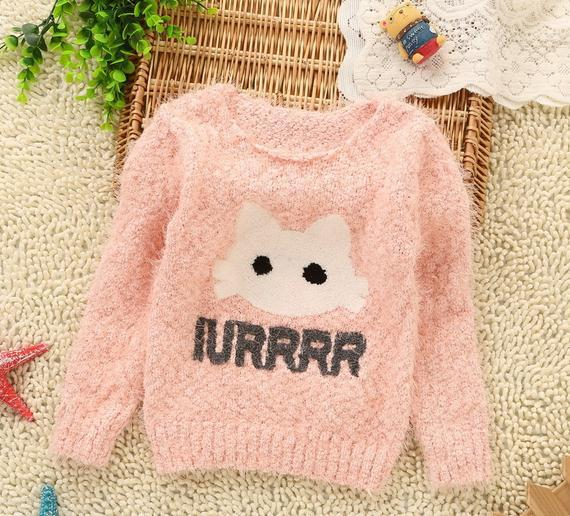 Online Shop Autumn baby girl sweater pink green long sleeve cute ...