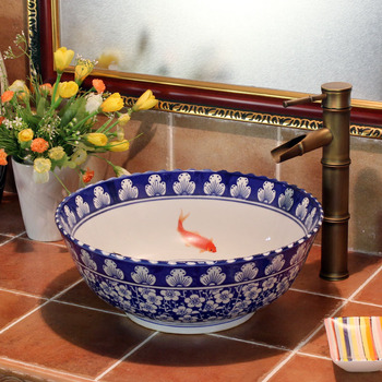 Artistic blue and white porcelain bathroom sink wash basin bowl