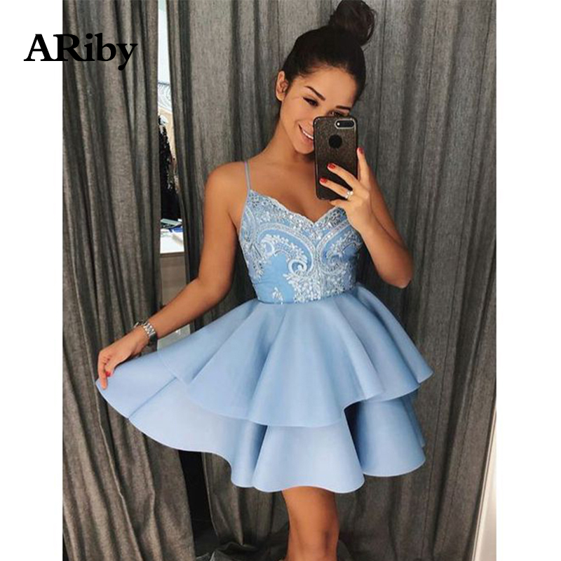 ARiby Women Summer Dress Party Lace 2019 New Sexy Fashion Camisole V-Collar Princess Bubble Sweet Layered Mini Cake