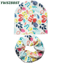 Retail and wholesale Nice cartoon baby hat children cotton scarf collar autumn winter infant hats set boys girls scarf baby caps цена в Москве и Питере